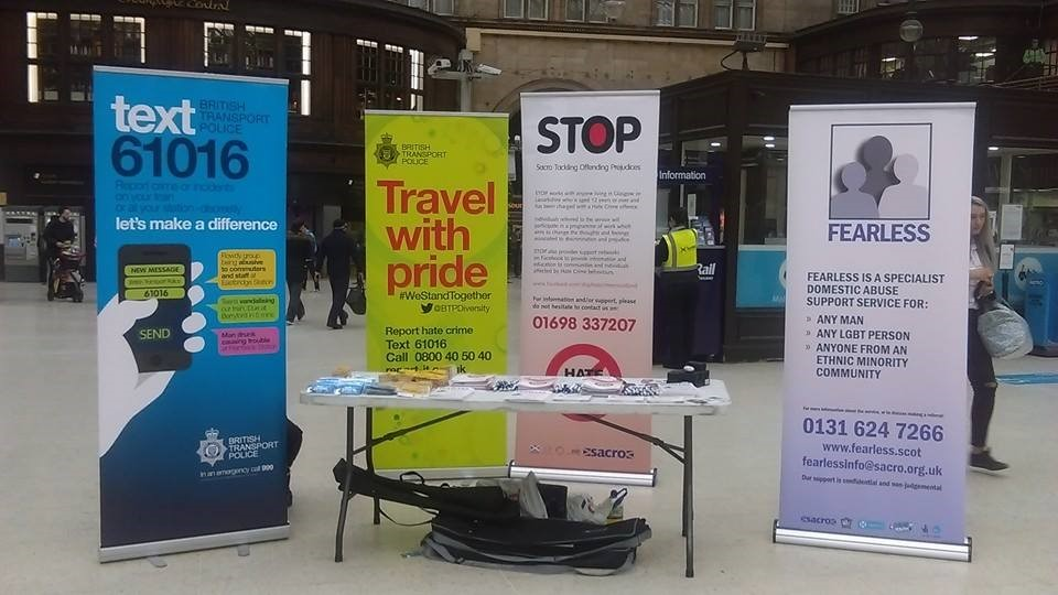 Sacro in Glasgow's Central Station to Promote Hate Crime Awareness Week